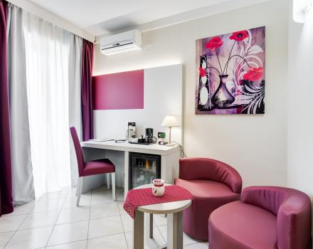 The living area of the junior suites at the Best Western Hotel Rocca Cassino 4 star hotel for your stay